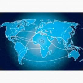 Fototapeta - FT6458 - Modrá mapa světa
