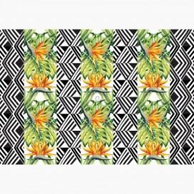 Fototapeta - FT6500 - Pruhy - zeleno-oranžové listy