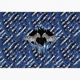 Fototapeta - FT6502 - Modré listy - Zebry