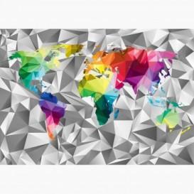 Fototapeta - FT6550 - Barevná mapa světa na 3D pozadí