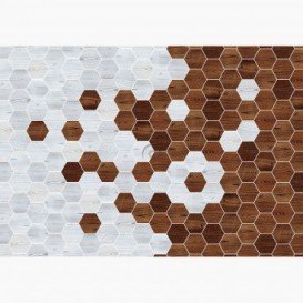 Fototapeta - FT6553 - Sivé a tmavo hnedé šesťuholníky