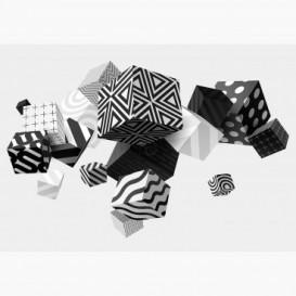 Fototapeta - FT6834 - Čierno-biele vzorované 3D kocky