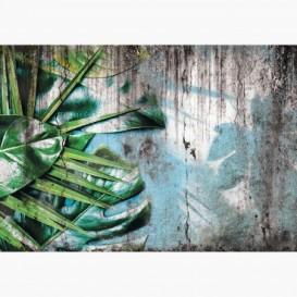 Fototapeta - FT7494 - Zelene listy kvetov na schátralej stene