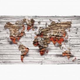 Fototapeta - FT7683 - Mapa sveta z kôry stromu