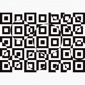 Fototapeta - FT7706 - Čierno-biela štvorcová 3D ilúzia
