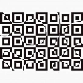 Fototapeta - FT7707 - Čierno-biela štvorcová 3D ilúzia